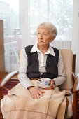 90 year old lady with a serious expression