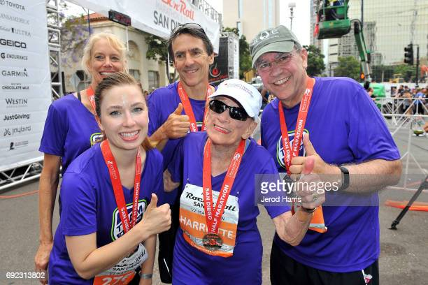 94 year old marathon runner Harriette Thompson crosses the finish line at the Synchrony Financial Rock 'n' Roll San Diego Marathon on June 4 2017 in...