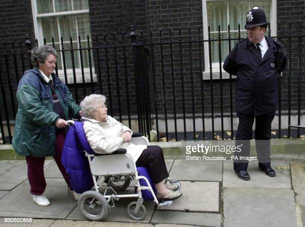 82 year old Mary Oldfield with her daughter Joanne Bryce leave Downing Street in London after delivering a letter to the Prime Minister complaining...