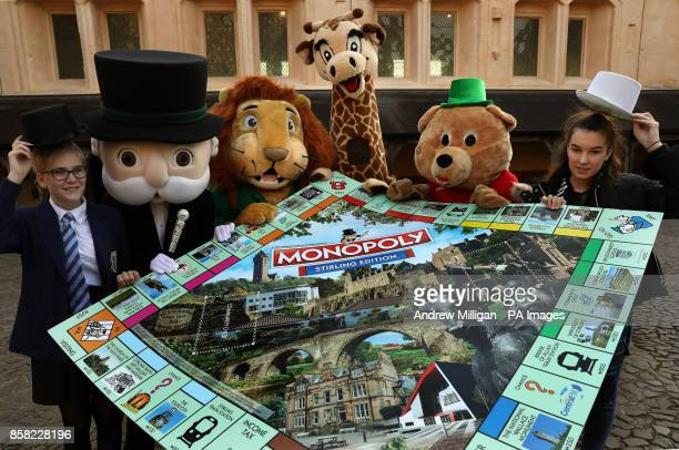 13 year old Mary Peck Mr Monopoly Blair Drummond Safari Park mascots Safari Sam and Gary The Giraffe Stirling Albion football club mascot Beano with...
