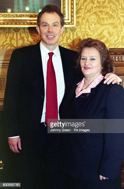 46 year old member of the Union of Shop Distributive and Allied Workers June Drinkwater meets British Prime Minister Tony Blair at the House of...