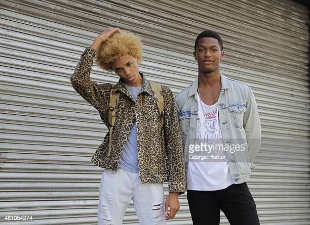 17 year old model Michael Lockley from Brooklyn New York and 21 year old model Hamid Onifade from Paris seen at Skylight Clarkson Sq Michael wears...