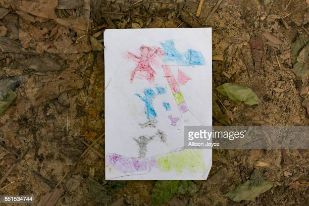 COX'S BAZAR BANGLADESH SEPTEMBER 21 13 year old Nurul Haque's drawing is seen at a CODEC and UNICEF 'child friendly space' on September 21 2017 in...