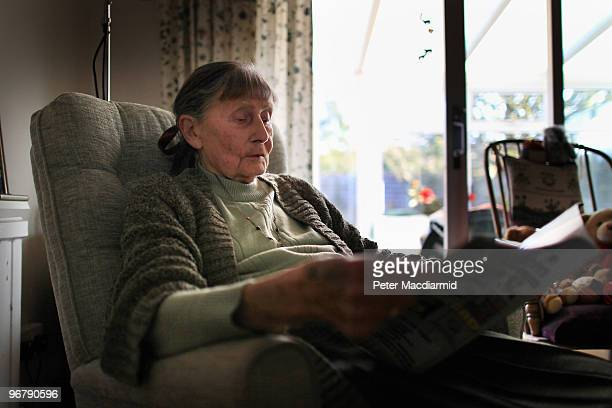 86 year old pensioner Pat Salmon looks at a magazine in her home on February 17 2010 in Surrey England As the UK gears up for one of the most hotly...