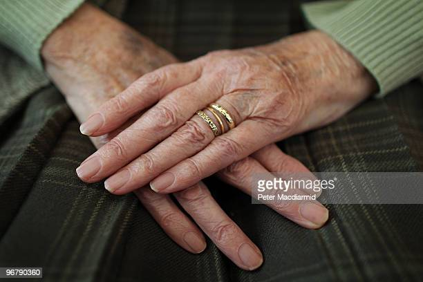 86 year old pensioner Pat Salmon sits at home with her hands on her lap on February 17 2010 in Surrey England As the UK gears up for one of the most...