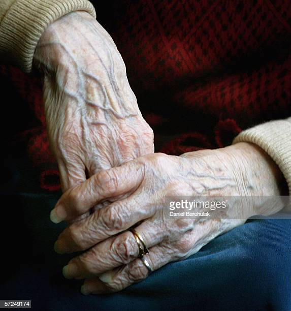 A 90 year old Pensioners clasps her hands together during a group exercise in a day care centre on April 4 2006 in London England The State Pension...