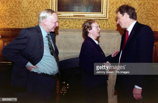 81 year old retired member of the Union of Shop Distributive and Allied Workers Gertie McManus meets British Prime Minister Tony Blair with her...