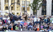 15 year old Sarah Norden from Yarmouth is among members of Circus Atlantic to kick off the Old Port Festival in Monument Square in Portland