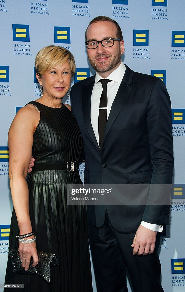 Yeardley Smith and Chad Griffin arrive at the Human Rights Campaign Los Angeles Gala Dinner at JW Marriott Los Angeles at LA LIVE on March 22 2014 in...