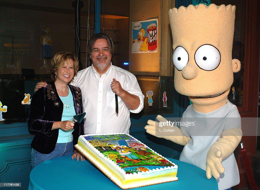 Yeardley Smith and Matt Groening with Bart Simpson