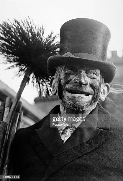 91 yearold chimney sweep Titch Cox smiling on a London rooftop 30th December 1969