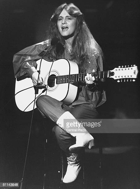 17 yearold German singer Nicole performing her winning song 'Ein Bisschen Frieden' at the Eurovision Song Contest held in Harrogate 24th April 1982