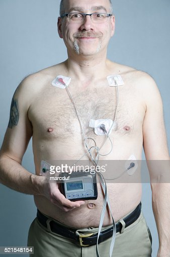 50 year-old man with 5 sensors with holter monitor