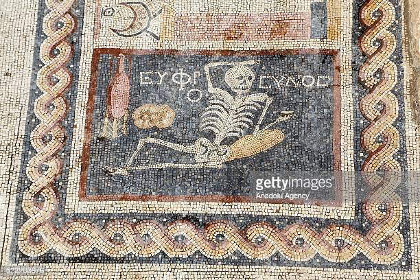 2400 yearold mosaic discovered during excavations saying 'Be cheerful enjoy your life' in Ancient Greek language is seen in southern Hatay province...