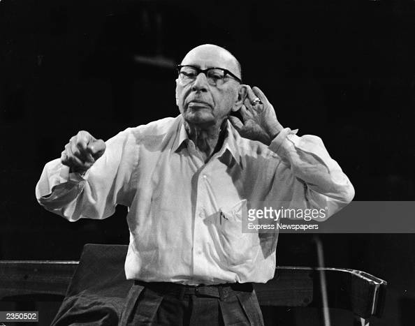 83 yearold Russian composer and conductor Igor Stravinsky conducts the New Philharmonic Orchestra during a concert of his work at the Royal Festival...