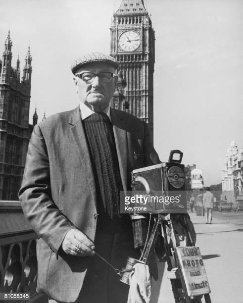 80 yearold street photographer AI Winter of Balham with his 1930's Aptus ferrotype camera on Westminster Bridge London 20th September 1973 Winter...
