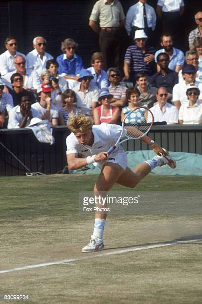 17 yearold unseeded German tennis player Boris Becker playing Kevin Curren of South Africa in the Men's Singles Final at Wimbledon 7th July 1985...