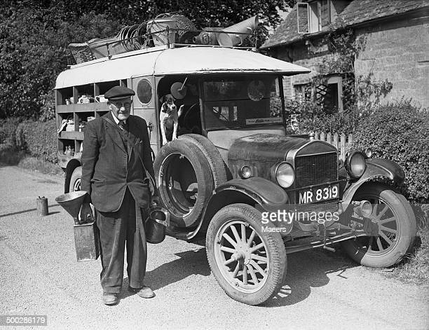 82 yearold W Giles delivering paraffin oil and household goods in the village of Didbrook Gloucestershire 3rd June 1957 Giles who has been in the job...