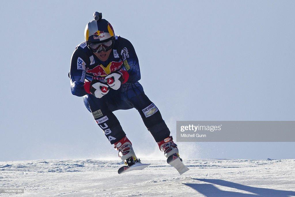 10 years after his win, Daron Rahlves of USA races down the Hahnenkamm course as a forerunner for the Audi FIS Alpine Ski World Cup Downhill on January 26, 2013 in Kitzbuhel, Austria,