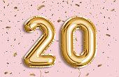20 years anniversary. Happy birthday joy celebration.Gold balloons & confetti for greeting card, banner, birthday invitation, celebrate anniversary. 20 Years golden Foil Balloon anniversary logotype.