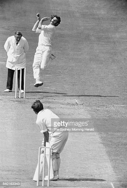 100 Years of Australian Cricketer Australian bowler Dennis Lillee in action against Engish batsman John Edrich in the Third Test at Nottingham during...