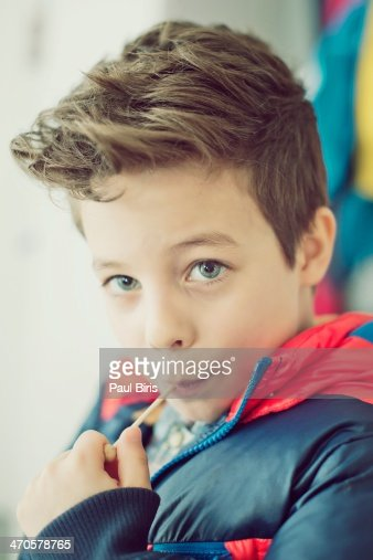8 Year Boy Bedroom Design: 8 Years Old Boys New Haircut Stock Photo