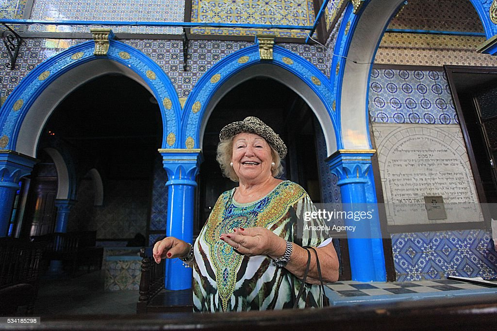 74 years old French Zerka Mercedes visits Synagogue La ghriba as Jews from different countries visit Synagogue La ghriba to celebrate Lag BaOmer in Djerba, Tunisia on May 25, 2016.