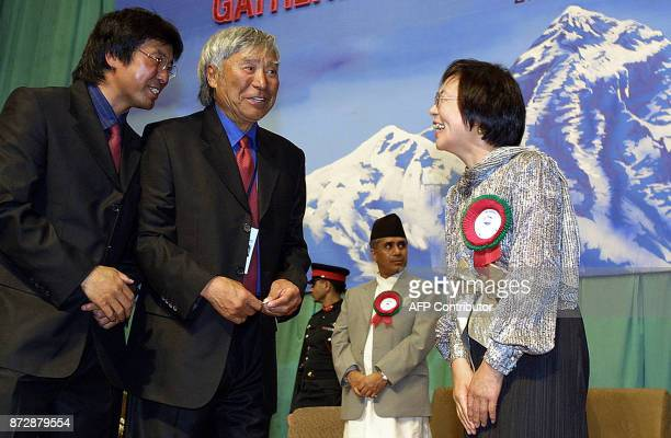 70 years old Japnanese skier Yuichrio Miura who became the oldest man to summit the Mt Everest 22 May and his son Gota Miura speak with their...
