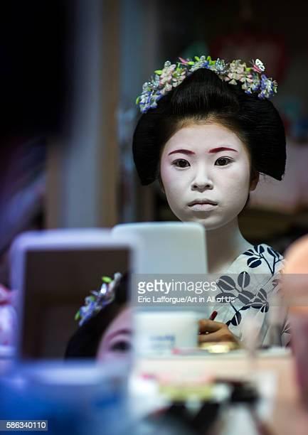 16 years old maiko called chikasaya during a make up session kansai region kyoto Japan on May 27 2016 in Kyoto Japan