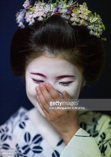 16 years old maiko called chikasaya laughing kansai region kyoto Japan on May 27 2016 in Kyoto Japan
