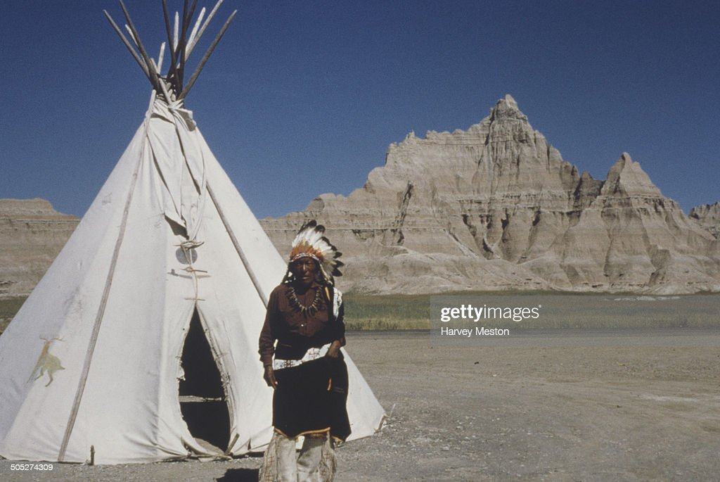 A 92 years old Sioux Indian man outside his teepee in Badlands National Park South Dakota USA circa 1960