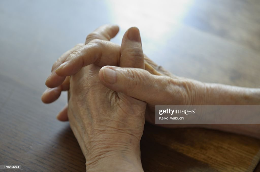 92 years old woman's hand close up