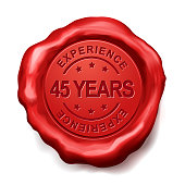 45 years experience red wax seal over white background