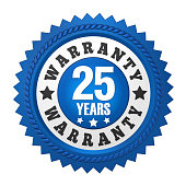 25 Years Warranty Badge solated on white background. 3D render