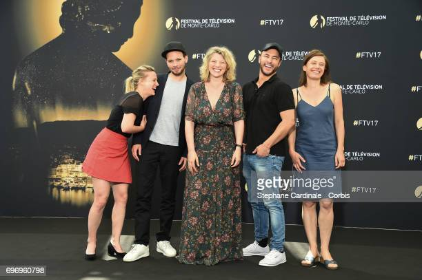 Yeelem Jappain Ali Marhyar Cecile Bois Raphael Lenglet and Nathalie Boutefeu from 'Candice Renoir' TV Show pose for a Photocall during the 57th Monte...