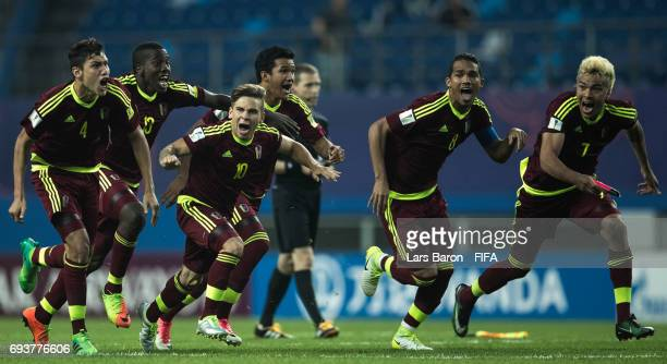 Yeferson Soteldo of Venezuela celebrates with team mates after winning the FIFA U20 World Cup Korea Republic 2017 Semi Final match between Uruguay...