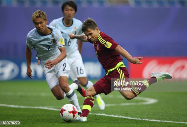 Yeferson Soteldo of Venezuela shoots during the FIFA U20 World Cup Korea Republic 2017 Round of 16 match between Venezuela and Japan at Daejeon World...