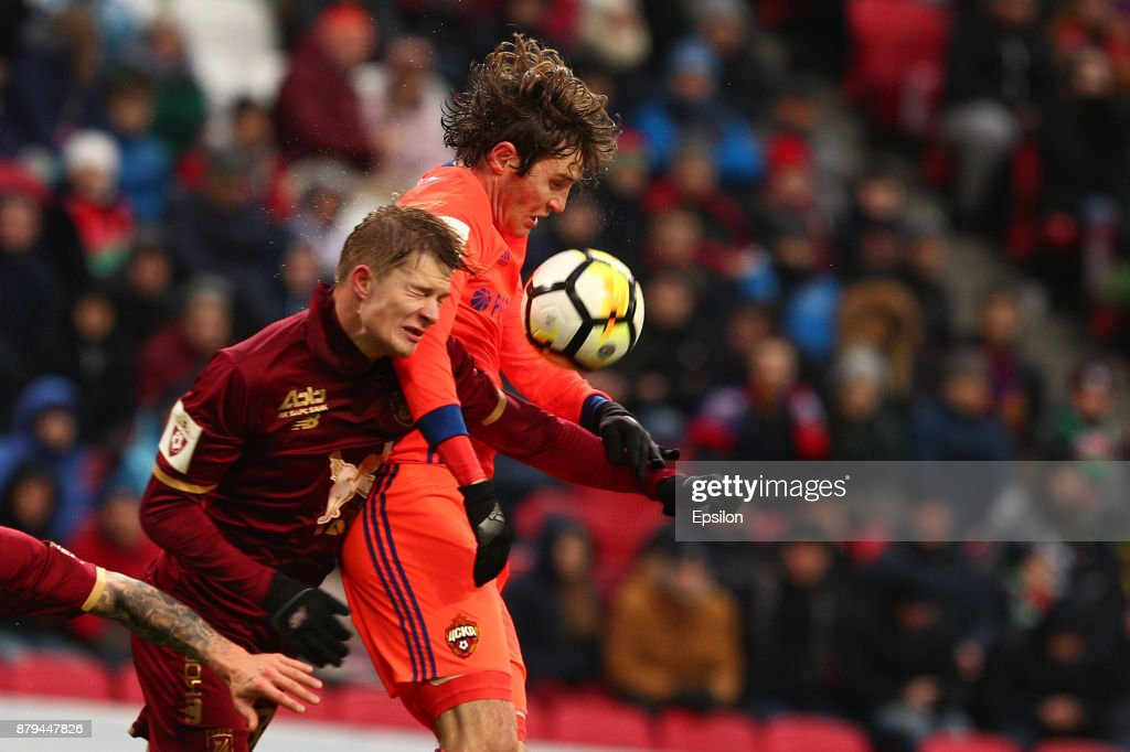 Yegor Sorokin (L) of FC Rubin Kazan vies for the ball with Mario Fernandes PFC CSKA Moscow during the Russian Premier League match between FC Rubin Kazan and PFC CSKA Moscow at Kazan Arena stadium on November 26, 2017 in Kazan, Russia.