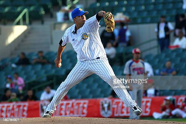 Yeiper Castillo of Venezuela in action during a match between Puerto Rico and Venezuela as part of the Caribbean Series 2013 at Sonora Stadium on...