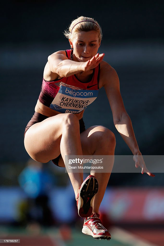 Yekaterina Kayukova-Chernenko of Russia competes in the Womens Triple Jump during the 2013 Belgacom Memorial Van Damme IAAF Diamond League meet at The King Baudouin Stadium on September 6, 2013 in Brussels, Belgium.
