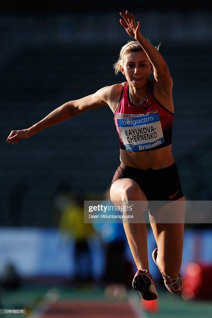 Yekaterina Kayukova-Chernenko of Russia competes in the Womens Triple Jump during the 2013 Belgacom Memorial Van Damme IAAF Diamond League meet at The King Baudouin Stadium on September 6, 2013 in Brussels, Belgium.