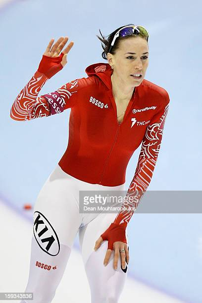 Yekaterina Lobysheva of Russia celebrates after the 500m Ladies race during the Essent ISU European Speed Skating Championships 2013 at Thialf...