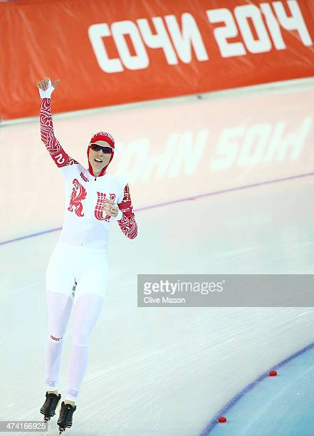 Yekaterina Lobysheva of Russia celebrates winning the bronze medal during the Women's Team Pursuit Final B Speed Skating event on day fifteen of the...