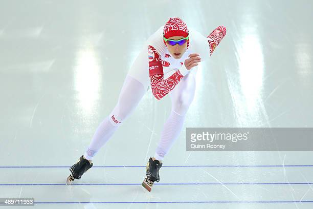 Yekaterina Lobysheva of Russia competes during the Women's 1500m Speed Skating event on day 9 of the Sochi 2014 Winter Olympics at Adler Arena...