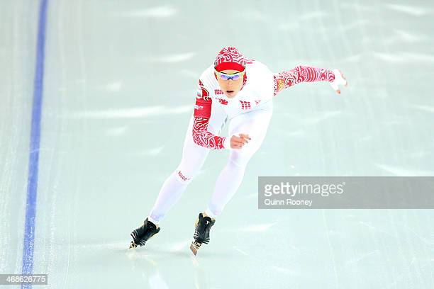 Yekaterina Lobysheva of Russia competes during the Women's 500m Race 2 of 2 Speed Skating event during day 4 of the Sochi 2014 Winter Olympics at...