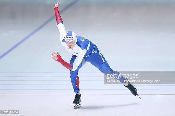 Yekaterina Lobysheva of Russia competes in the Ladies 1000m on day two of the ISU World Cup Speed Skating 2016 at the Heilongjiang Speed Skating OVAL...