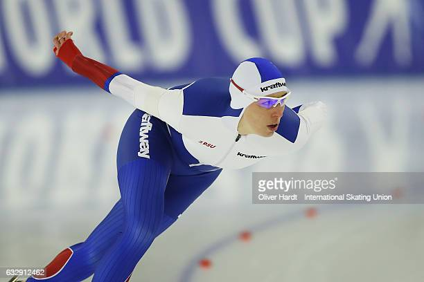 Yekaterina Lobysheva of Russia competes in the Ladies Divison A 1500m race during the ISU World Cup Speed Skating Day 2 at the Sportforum Berlin...