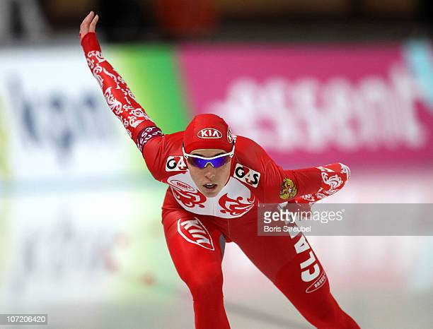 Yekaterina Lobysheva of Russia competes in the women's 1000 m Division A race during the Essent ISU World Cup Speed Skating on November 21 2010 in...