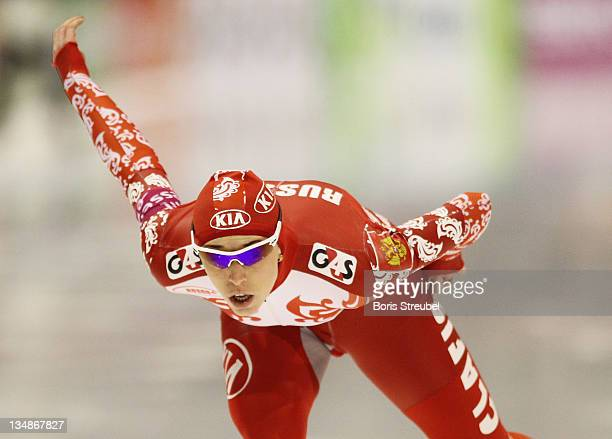 Yekaterina Lobysheva of Russia competes in the women's 1000 m Division A race during the Essent ISU World Cup Speed Skating on December 4 2011 in...