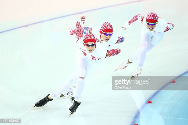 Yekaterina Lobysheva Yuliya Skokova and Olga Graf of Russia compete during the Women's Team Pursuit Final B Speed Skating event on day fifteen of the...